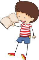 Un enfant de doodle lisant un personnage de dessin animé de livre isolé