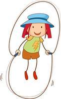 une fille portant un personnage de dessin animé de chapeau dans un style doodle dessiné à la main vecteur