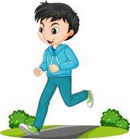 garçon, faire, courant, exercice, dessin animé, caractère, isolé vecteur