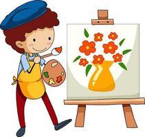 petit artiste dessinant le personnage de dessin animé photo isolé vecteur