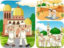 ensemble de personnage de dessin animé de personnes musulmanes dans une scène différente