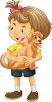 personnage de dessin animé fille heureuse étreignant un chien mignon vecteur