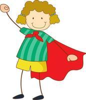 personnage de dessin animé fille super héros dans un style doodle dessiné main