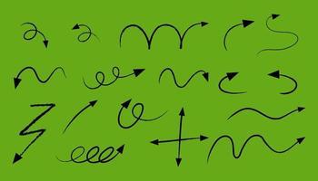 différents types de flèches courbes dessinées à la main sur fond vert vecteur