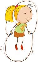 un personnage de dessin animé de fille dans un style doodle isolé