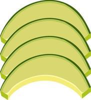 Tranches de melon vert en deux sur fond blanc vecteur