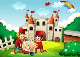 Oeuf dumpty humpty avec des soldats dans la scène du château vecteur