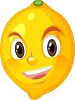 personnage de dessin animé de citron avec une expression de visage heureux sur fond blanc