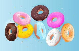 fond de beignet savoureux doux 3d réaliste. peut être utilisé pour le menu des desserts, l'affiche, la carte. illustration vectorielle vecteur