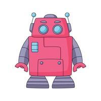 Dessin animé de robot mignon doodle design de concept dessiné à la main vector art illustration kawaii