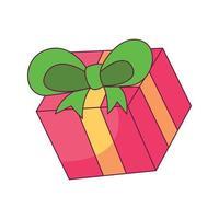 coffret cadeau dessin animé doodle dessiné à la main illustration vectorielle kawaii vecteur