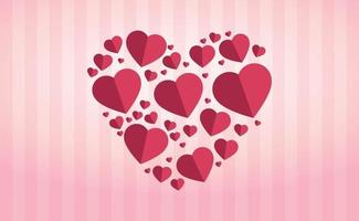 doux coeurs rose-rouge en forme de grand coeur sur fond rayé rose vecteur
