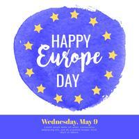 Bannière d'aquarelle de Vector Europe Day