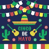 Cinco De Mayo Collection de style plat de célébration vecteur