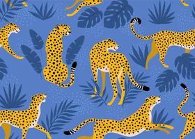 motif léopard avec des feuilles tropicales. texture transparente de vecteur. vecteur