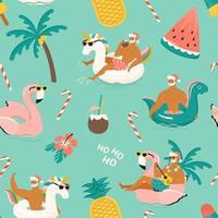 Noël chaud tropical. modèle sans couture avec joli père noël sexy drôle avec dinosaure licorne, anneau gonflable flamant rose. illustration vectorielle. vecteur