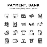 jeu d'icônes de paiement ou de banque