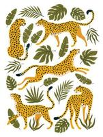 ensemble de vecteurs de léopards ou de guépards et de feuilles tropicales. illustration à la mode. vecteur