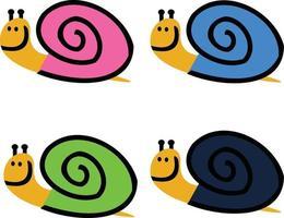 escargots mignons souriant vecteur