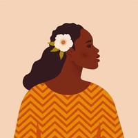 belle femme noire. jeune afro-américain. portrait de jeune femme avec beau visage et cheveux. vue de côté. isolé sur un fond beige. vecteur