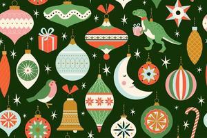 Joyeux Noël et carte du nouvel an avec divers jouets de Noël et présent dans un style moderne rétro du milieu du siècle. modèle sans couture de vacances hiver en vecteur. vecteur