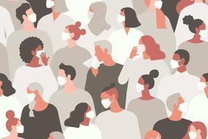 pandémie de Coronavirus. nouveau coronavirus 2019-ncov, personnes en masque médical blanc. concept d'illustration vectorielle de coronavirus quarantaine. modèle sans couture. vecteur