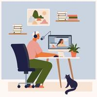 rester à la maison, enregistrer une émission de podcast. animateur de radio masculin parlant dans le microphone. podcasteur faisant du contenu. diffusion sur les réseaux sociaux. espace de travail du blogueur. homme mignon assis à l'illustration vectorielle de table. vecteur