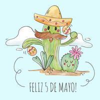 Personnages mignons de cactus jouant de la musique avec des maracas vecteur