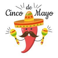 Jalapeno rouge mignon avec des maracas au jour de Cinco De Mayo vecteur
