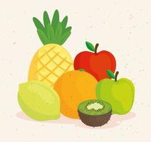 mignon fruits tropicaux frais vecteur