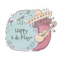 Caractère mignon de Jalapeno avec la moustache et le chapeau mexicain jouant la guitare au jour de Cinco De Mayo vecteur