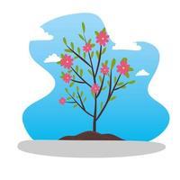 petit arbre avec des feuilles et des fleurs vecteur