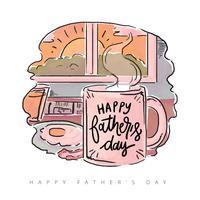 Petit déjeuner mignon de fête des pères avec citation vecteur