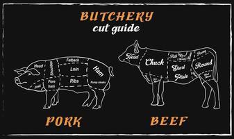 Boucherie tableau noir coupe de viande de bœuf et de porc. vecteur
