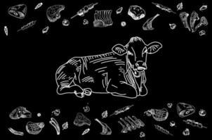 Boucherie tableau noir coupe de viande de boeuf. vecteur