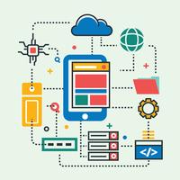 Technologie d'ingénierie Cloud centrique mobile vecteur