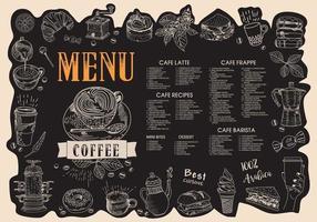menu du café. menu de café du restaurant. vecteur