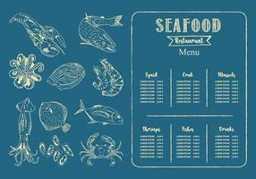 modèle de menu de restaurant de fruits de mer. vecteur. vecteur