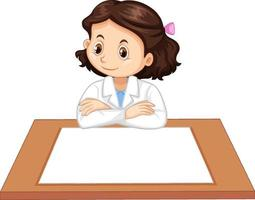 Uniforme de fille scientifique avec du papier vierge sur la table