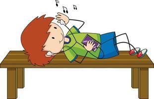 Un garçon écoute personnage de dessin animé de musique isolé vecteur