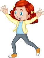 fille poussant les mains vers le haut de personnage de dessin animé de danse isolé
