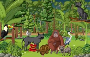 scène de forêt tropicale avec des animaux sauvages