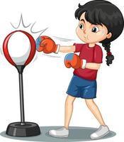 un personnage de dessin animé de fille faisant un exercice de boxe vecteur