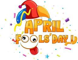 logo de police du jour du poisson d'avril avec chapeau de bouffon