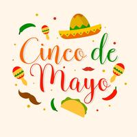 Illustration vectorielle de plat Cinco De Mayo