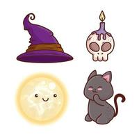 jeu d'icônes halloween heureux vecteur