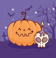 joyeux halloween, citrouille dans le cimetière avec crâne et bougie