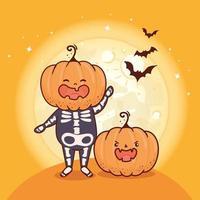 citrouilles pour la célébration d'halloween avec des chauves-souris volant