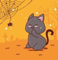 joyeux halloween avec chat mignon et araignée