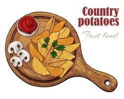 illustrations vectorielles sur les pommes de terre de pays de thème de restauration rapide sur une planche. vecteur